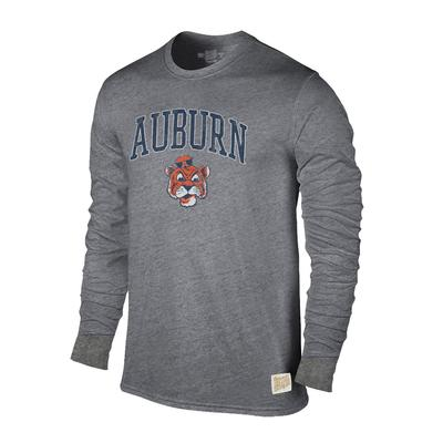 Auburn Retro Brand Streaky Triblend Long Sleeve T-Shirt