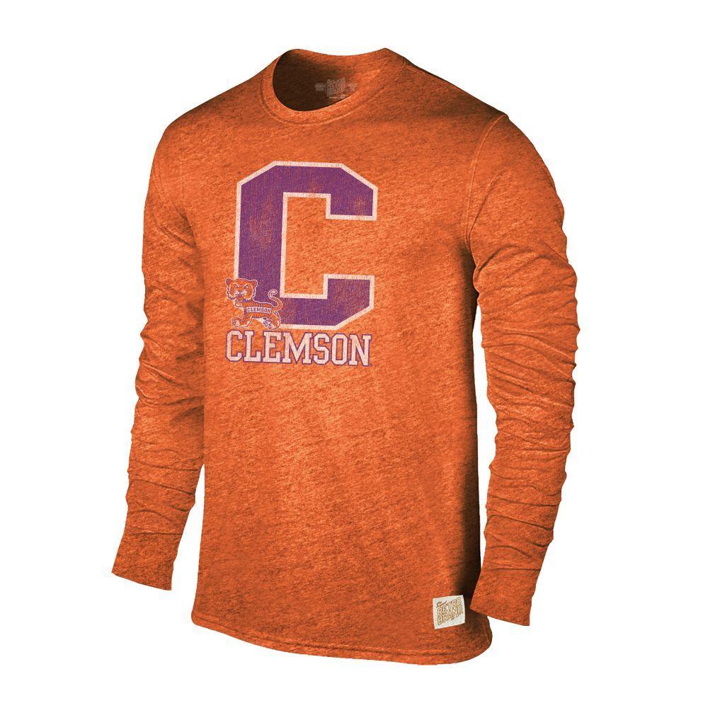 Clemson Retro Brand Streaky Triblend Long Sleeve T- Shirt