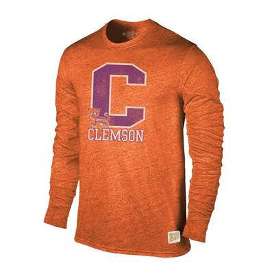 Clemson Retro Brand Streaky Triblend Long Sleeve T-Shirt