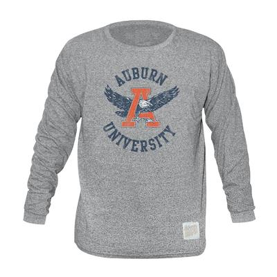 Auburn Retro Brand Mock Twist Triblend Long Sleeve T-Shirt