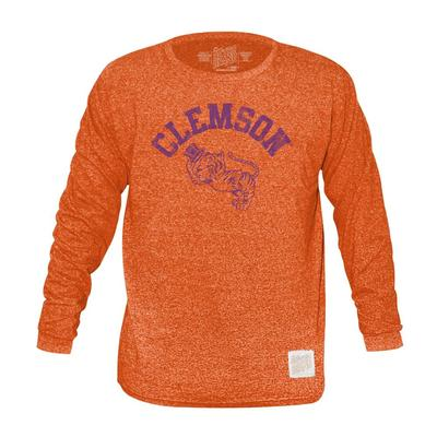 Clemson Retro Brand Mock Twist Triblend Long Sleeve T-Shirt