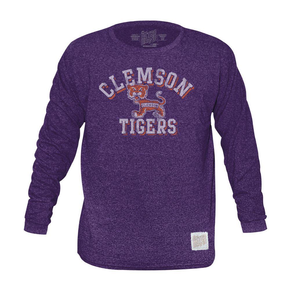 Clemson Retro Brand Mock Twist Triblend Long Sleeve T- Shirt