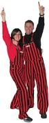Red And Black Adult Game Bibs Striped Overalls