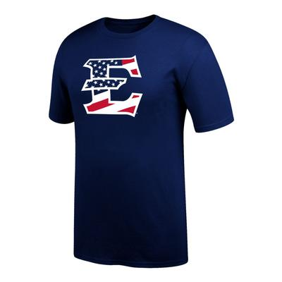 ETSU Men's Logo With American Flag Tee