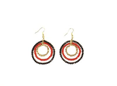 Red and Black Triple Hoop Beaded Earrings