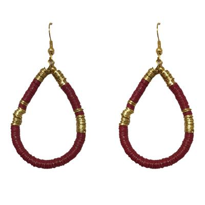 Maroon Teardrop Sequin Earrings
