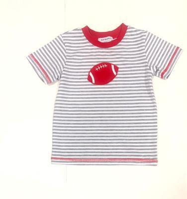 Grey & Red Toddler Football Tee