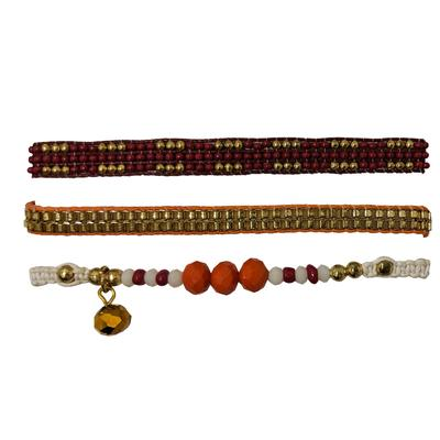 Maroon & Orange Set of 3 Bracelets