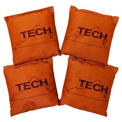 Virginia Tech Vault Logo Set of 4 Orange Cornhole Bags