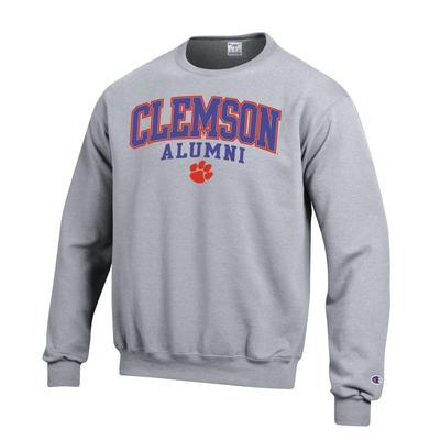 Clemson Screen Fleece Alumni Crew Neck HTHR_GREY