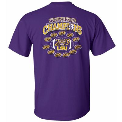 LSU Youth 2019 SEC 12X Football Champions Tee Shirt