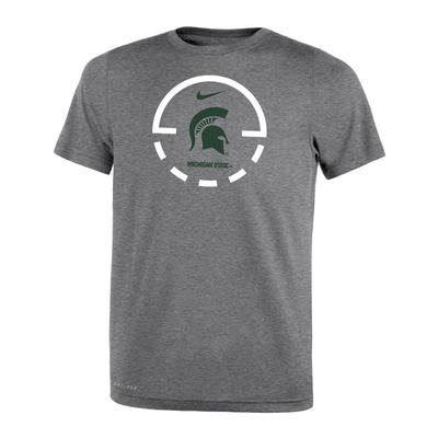 Michigan State Nike Boys' Court Logo Legend Tee D_HEATHER