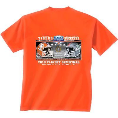 Clemson Fiesta Bowl Helmets Short Sleeve Tee Shirt