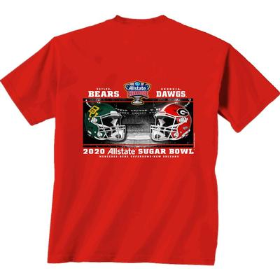 Georgia Sugar Bowl Helmet Match Up Short Sleeve Tee Shirt