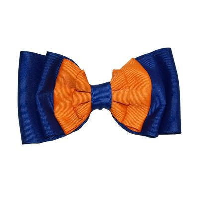 Florida Orange and Blue Ruffled Hair Bow