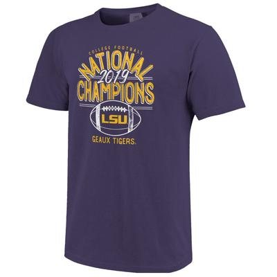 LSU National Champions Hand Drawn Football Comfort Colors Short Sleeve Tee