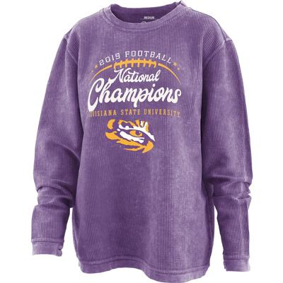 LSU National Champions Pressbox Horizon Comfy Cord Sweater