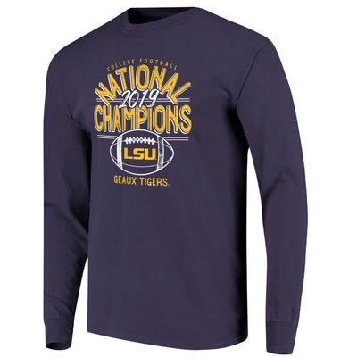LSU National Champions Hand Drawn Football Comfort Colors Long Sleeve Tee
