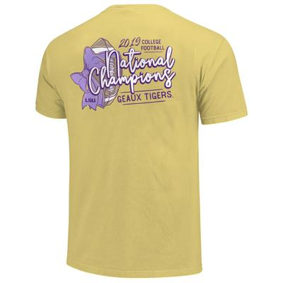 LSU National Champions Football Bow Comfort Colors Short Sleeve Tee