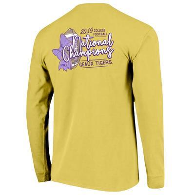LSU National Champions Football Bow Comfort Colors Long Sleeve Tee