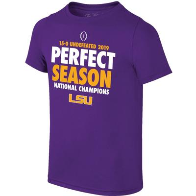 LSU Perfect Season National Champions YOUTH Short Sleeve Tee