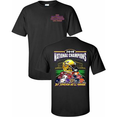 LSU 2019 National Champions Helmet Stack Short Sleeve Tee BLACK