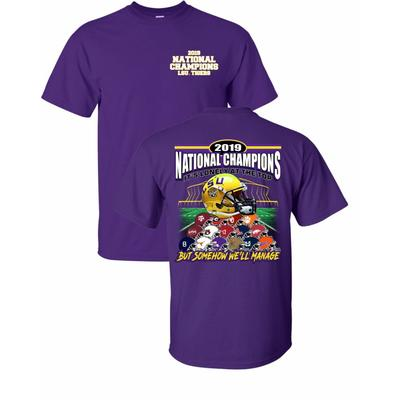 LSU 2019 National Champions Helmet Stack Short Sleeve Tee PURPLE