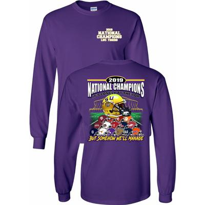 LSU 2019 National Champions Helmet Stack Long Sleeve Tee