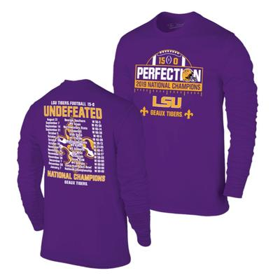 LSU 2019 National Champions Perfect Season LS Tee Shirt