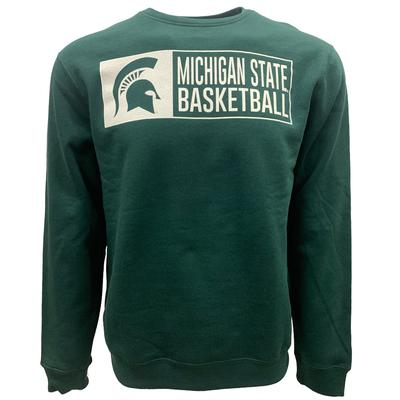 Michigan State Screen Fleece Basketball Crew Neck