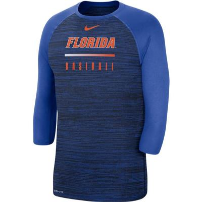 Florida Baseball Velocity Legend Dri-Fit 3/4 Sleeve Raglan Tee