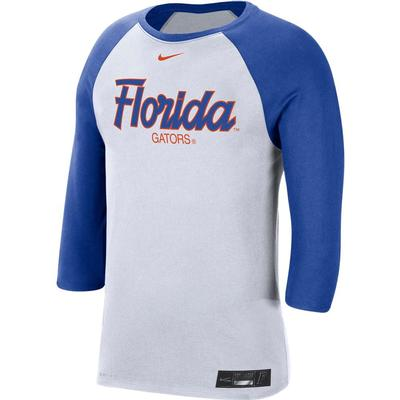 Florida Nike Dri-Fit Cotton Baseball 3/4 Sleeve Raglan Tee