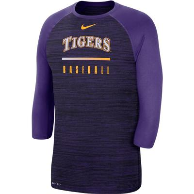 LSU Nike Men's Raglan Baseball Tee