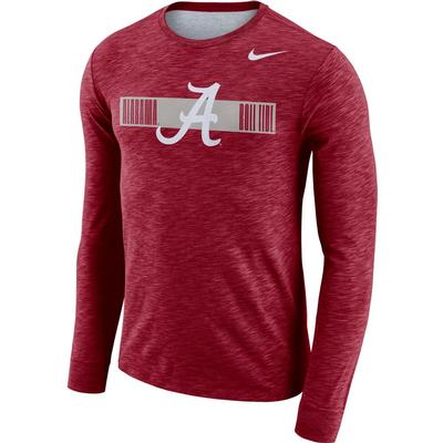 Alabama Nike Dri-Fit Cotton Long Sleeve Slub Logo Tee