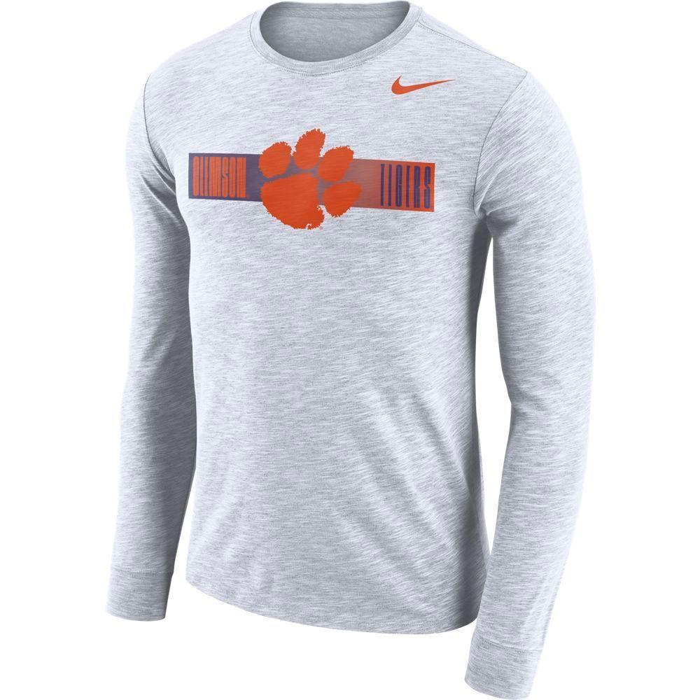 Clemson Nike Dri- Fit Cotton Long Sleeve Slub Logo Tee