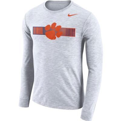 Clemson Nike Dri-Fit Cotton Long Sleeve Slub Logo Tee