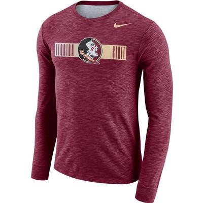 Florida State Nike Dri-Fit Cotton Long Sleeve Slub Logo Tee MAROON