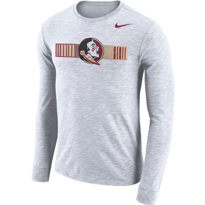 Florida State Nike Dri-Fit Cotton Long Sleeve Slub Logo Tee