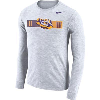 LSU Nike Dri-Fit Cotton Long Sleeve Slub Logo Tee