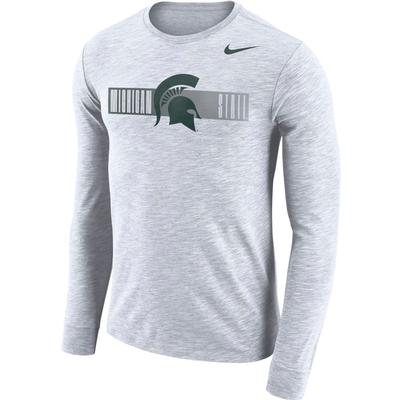Michigan State Nike Dri-Fit Cotton Long Sleeve Slub Logo Tee