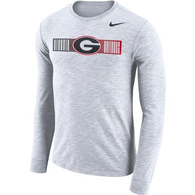 Georgia Nike Dri-Fit Cotton Long Sleeve Slub Logo Tee