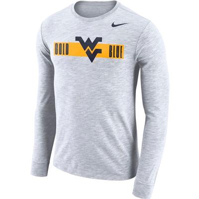 West Virginia Nike Dri-Fit Cotton Long Sleeve Slub Logo Tee