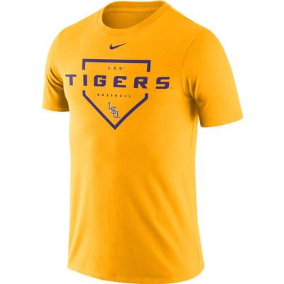 LSU Nike Men's Dri-fit Cotton Baseball Plate Tee GOLD