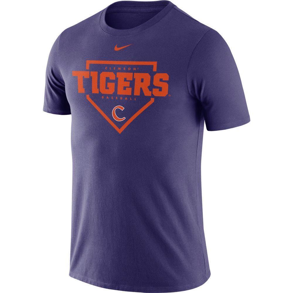 Clemson Nike Men's Dri- Fit Cotton Baseball Plate Tee