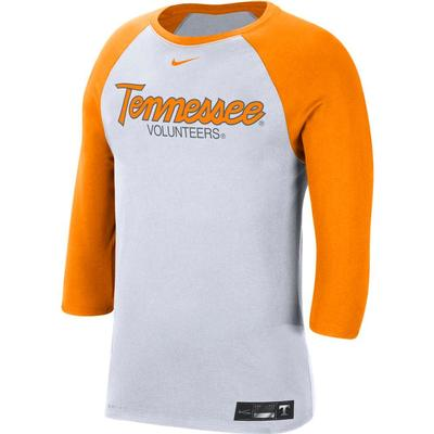 Tennessee Nike Men's Dri-fit Cotton Raglan Baseball Tee