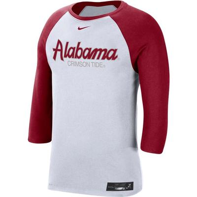 Alabama Nike Men's Dri-fit Cotton Raglan Baseball Tee