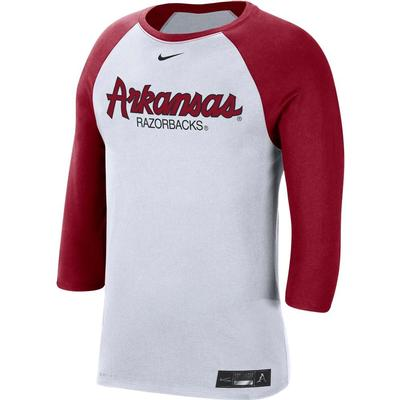 Arkansas Nike Men's Dri-fit Cotton Raglan Baseball Tee