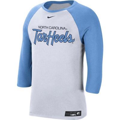 UNC Nike Men's Dri-fit Cotton Raglan Baseball Tee