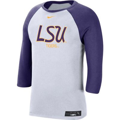 LSU Nike Men's Dri-fit Cotton Raglan Baseball Tee