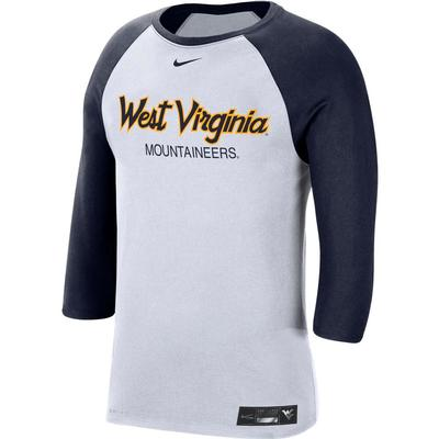 West Virginia Nike Men's Dr-fit Cotton Raglan Baseball Tee